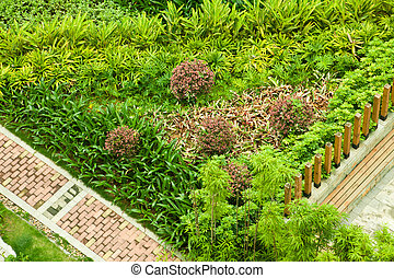 Brick footpath - overhead view for a garden with brick...