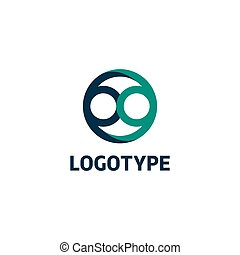Isolated abstract vector logo. Blue color logotype. Infinity...