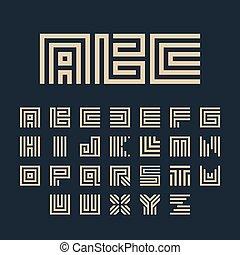 Geometric vector white color alphabet letters set. Monogram...