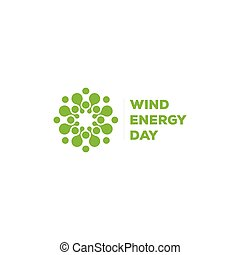 Abstract vector round logo. Wind energy unusual sign. Green logotype.