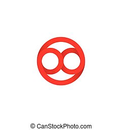 Isolated abstract vector logo. Red color logotype. Infinity sign inside circle.
