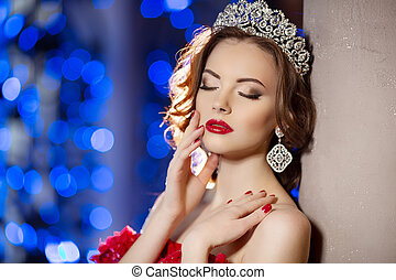 Woman in lux dress with crown like queen, princess, lights...