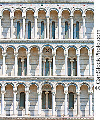 Middle Ages Duomo facade in Pisa, Italy