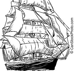 Single Clipper Ship Doodle - Cropped doodle sketch of 18th...