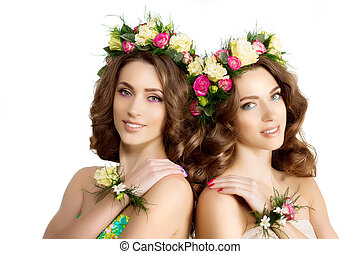 Two Spring women Young Girl flowers Beautiful model wreath...