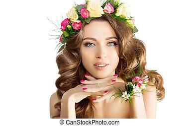 Girl flowers Beautiful model wreath bracelet - Spring woman...