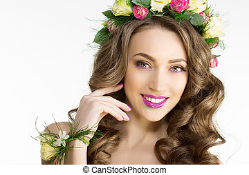 Spring woman Young Girl flowers Beautiful model wreath...