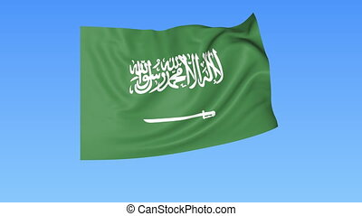 Waving flag of Saudi Arabia, seamless loop. Exact size, blue...