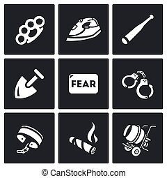 Vector Set of Slavery Icons Beatings, Torture, Threat,...
