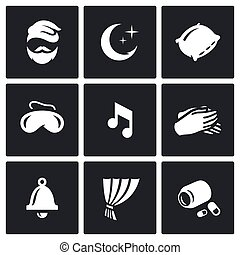 Vector Set of Sleep and Rest Icons. Man, Night, Pillow, Mask, Lullaby, Palm, Clock, Curtain, Sleeping Pills.