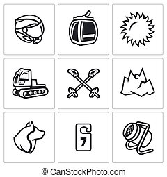 Vector Set of Ski Resort Icons. Helmet, Funicular, Weather, Machine rolling slope, Poles, Mountain, Rescue Dog, Hotel, Snow Cannon.