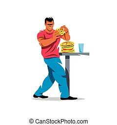 Vector Athlete on fast food eating Cartoon Illustration. -...
