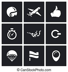 Vector Set of Skydiving Icons. Helmet, Plane, Ready, Time,...