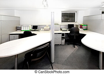 Office cubicles - Modern office cubicles divided with...