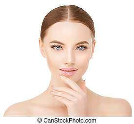 Beautiful woman face close up studio on white. Beauty spa...