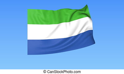 Waving flag of Sierra Leone, seamless loop. Exact size, blue...
