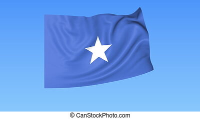 Waving flag of Somalia, seamless loop. Exact size, blue background. Part of all countries set. 4K ProRes with alpha