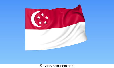 Waving flag of Singapore, seamless loop. Exact size, blue...