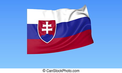 Waving flag of Slovakia, seamless loop. Exact size, blue background. Part of all countries set. 4K ProRes with alpha