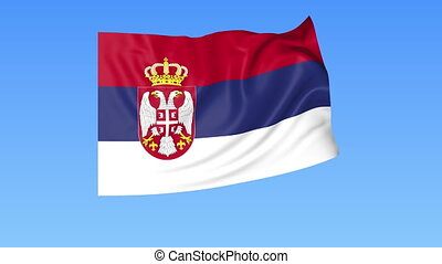 Waving flag of Serbia, seamless loop. Exact size, blue background. Part of all countries set. 4K ProRes with alpha.