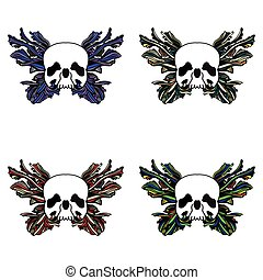 Skull and butterfly set - Skull and abstract butterfly set 4...