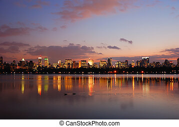 New York City Central Park - New York City Skyline at dusk...
