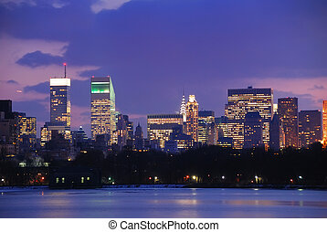 New York City Skyline at Dusk in Central Park