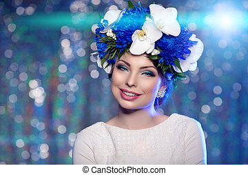 Woman girl wreath of flowers on head, lights party...