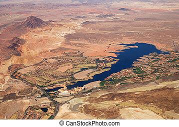 Luchtopnames, meer, las vegas,  Las,  Nevada, aanzicht