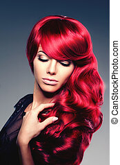 Luxury fashion trendy  young  woman with red curled hair