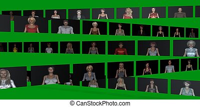 Video Wall of People on Screens in 3d