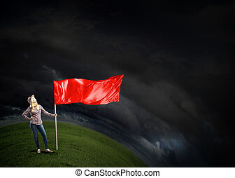 Student girl waving flag - Young girl in casual with blank...