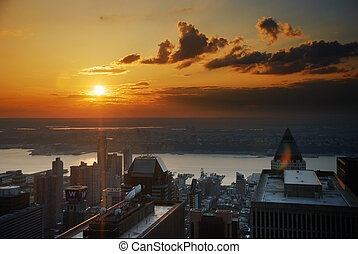 Hudson river sunset, new york city