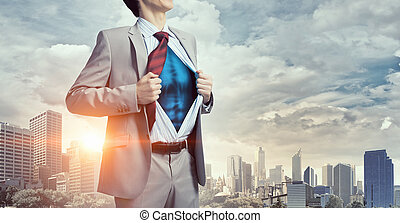 He is super manager . Mixed media - Office worker opening...