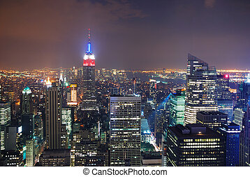 NEW YORK CITY - Aerial view of New York City at night.