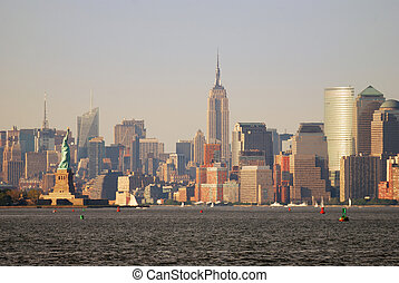 New York City Manhattan skyline panorama with Empire State...