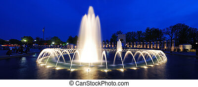 World War II memorial fountain panorama, Washington DC -...