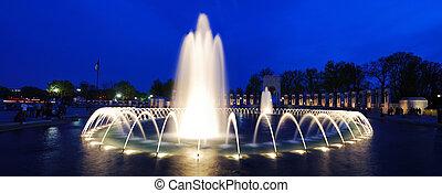 World War II memorial fountain panorama, Washington DC