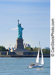 New York City - Statue of Liberty as American landmark in...