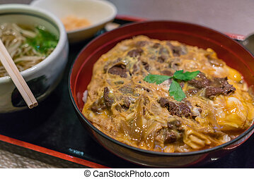 Japanese traditional dish Beef teriyaki with rice - Japanese...