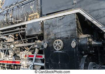 Close up of old train .