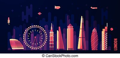 London England city skyline vector flat style