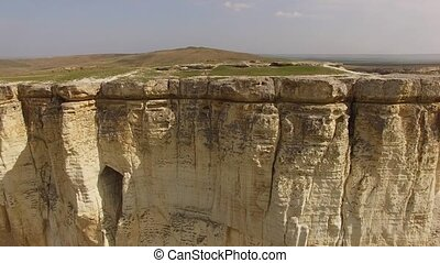 Majestic White Rock In Crimea - AERIAL VIEW. Panoramic shot...