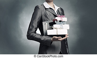 Businesswoman receiving or presenting gifts Mixed media -...
