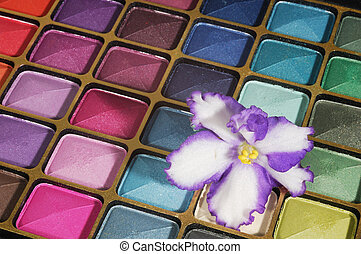 Cosmetics - Colorful set ofeyshadows with violet on it