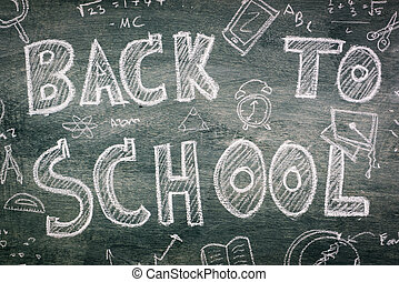 Freehand drawing Back to school on chalkboard