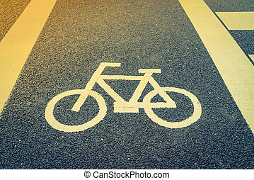 Lane for bicycle on the road ( Filtered image processed...