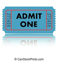 Admit One Ticket - Blue admit one ticket isolated on a white...