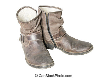 Mens shoes - Stylish mens old shoes with high suede boot top...