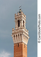 Siena - Torre del Mangia - Torre del Mangia tower in Siena,...